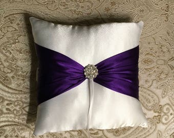 ring bearer pillow white or ivory and purple satin