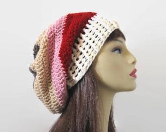 Crochet Slouchy Hat Multlicolor Knit Beanie Dark Red Striped Slouchy Hat Taupe Beret Striped Slouch Tam Gray Crochet Hat Tan Beanie Knit Tam