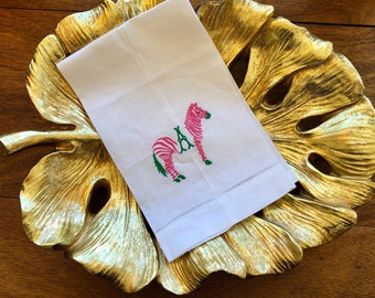 Monogram linen towel
