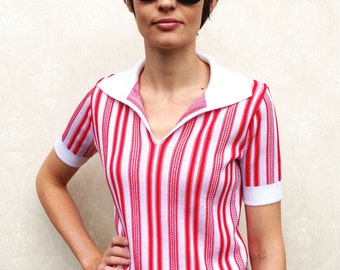 "Vintage 60s striped knit top, small medium - white and cherry red . . . ""Like"" our fb page for 10% discount"