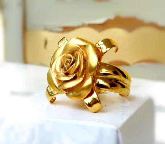 Flower ring, gold rose ring, rosebud, rose jewelry, handmade feminine romantic floral jewelry 14k goldplated sterling silver adjustable ring