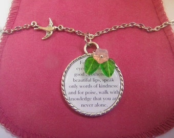 Audrey Hepburn Quote Necklace, Look For the Good in Others,Beautiful eyes