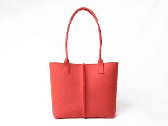 Wool Felt TOTE BAG / blue tote bag / orange bag / womens bag / felt shoulder bag / carry all bag / made in Italy