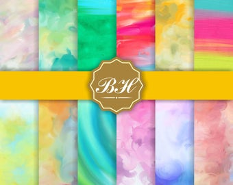 Bright Watercolor Digital Paper, Watercolor Background, Watercolor Scrapbook Paper, Bright Colors, Watercolor Textures, Water Color Art