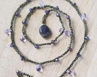 """Delicate lavender Czech teardrops & tiny firepolished faceted rondelles woven with Iolite stone pendant bead, crochet weave 16-1/2"""""""