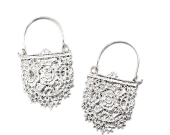 Lace Earrings - Hoops - Sterling Silver - Cast from Real Lace