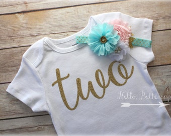 Gold second birthday bodysuit, Glitter gold TWO shirt, Girls 2nd birthday outfit, Aqua and Pink headband, Gold Birthday Outfit, Pink & Gold