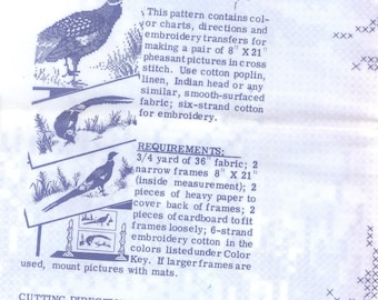 cross stitch pheasant pair pictures 8x21 transfer pattern 1960's #7131
