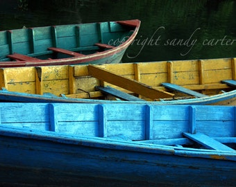 Fine Art Photograph - Green Yellow and Blue Nepal Boats