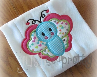 Butterfly Love Embroidery Applique Design