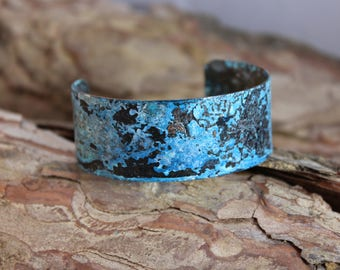 Pretty Blue Patina Copper Cuff Bracelet (121217-005)
