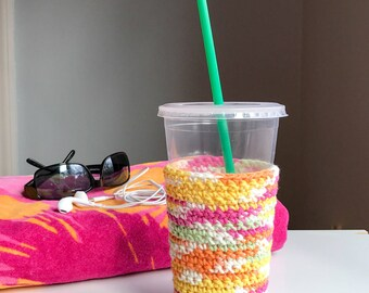 Iced Coffee Cozy - Crochet Coffee Cozy - Gifts for Teachers - Reusable Coffee Sleeve - Crochet Coffee Cup Sleeve - Coffee Lover Gifts
