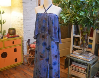 Vintage 1970s Buffalo blue floral ruffle strapless maxi dress S small festival