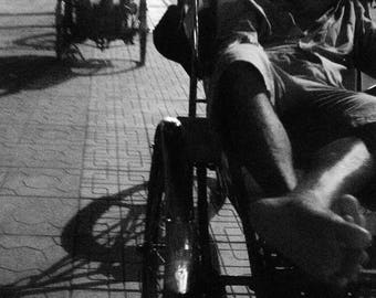 Trishaw Puller Napping By The Street Black and White Instant Digital Download  Personal or Commercial Use