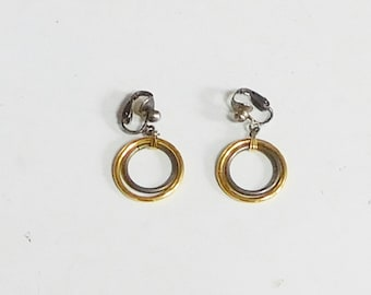 Antiqued Silver Tone Clip On Small Dangling Hoop Earrings, Gold Tone Hoops, Vintage