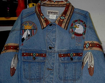 Eagle Feather Jean jacket (embroidered) native american