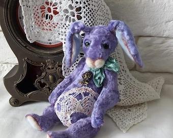 Antique toy Teddy rabbit Lavender rabbit Gift her Vintage rabbit Attic toy Plush rabbit Alice white rabbit Collection rabbit Old toy Bunny