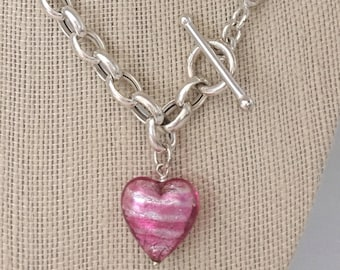 """Vintage Pink Heart Toggle 18"""" Italy 925 Sterling Silver Rolo Curb Chain Toggle Clasp with Pink Glass Heart Pendant 