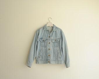 Vintage Lee Light Blue Denim Jacket, Made in USA, Size Medium / ITEM629