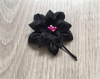 Women Pin Hair Flower, Japanese Flower, Fabric Kanzashi Flower, Girl Black Hairpin, Woman Hair Accessory, Bridal Hair Accessories.