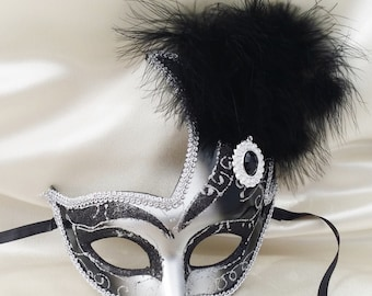 Half-face Masquerade Mask Black and Silver With Black Feathers/ Mardi Gras Mask/ Venetian Mask/ Party mask/New Orleans carnival/Halloween