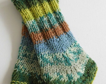 Hanne hand knitted warmers green melange uniques for ladies size M