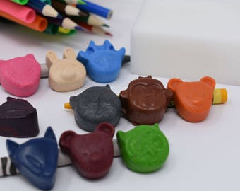 Forest Animal Crayons - Set of 10 - Recycled Crayons - Animals - Forest Animals - Party Favor - Stocking Stuffer - Zoo Party - Animal Theme