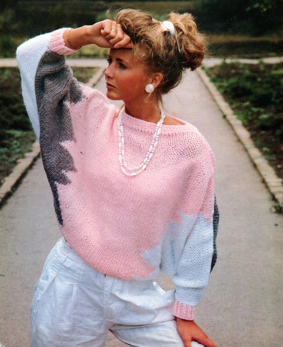 Pdf Knitting Pattern Womens Ladies Batwing Sweater Jumper Easy