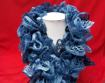 Blue fantasy scarf with ruffles