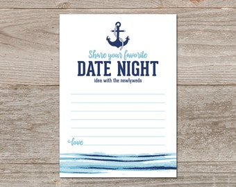 Date Night Cards, Date Night Printable Nautical Wedding Favor // Anchor Wedding, Date Night Idea Cards