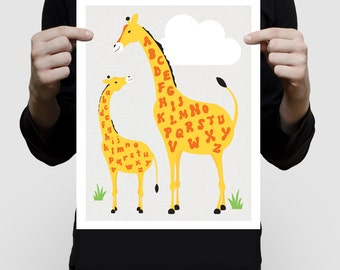 giraffe print alphabet art poster - animal ABCs, jungle print, safari animal art giraffe illustration, nursery decor giraffe art, ABC print