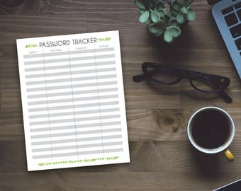Printable Password Tracker - Whimsical Password Keeper - Organizing Sheet - Office Organzing - Home Organizing - Instant Download