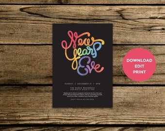 Editable New Years Eve Invitation - Neon Hand Drawn Typography - Instant PDF Download - Download, Edit, Print