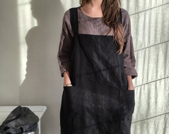 Linen Pinafore Apron, Linen Apron, Dark Pinafore Woman, Square-Cross Apron, no-ties apron, Japanese apron, linen smock, Mothers day gift