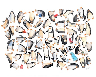 What a mess: the penguins! - Decoration for children's room - Print of my original watercolor