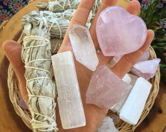 Love crystal set, chakra set,  crystal set, smudge kit, crystal grid