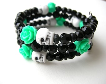 Black and Green Skull Bracelet - Dead of the Dead Bracelet - Gothic Jewelry - Black Jewelry - Skulls - Skull Bracelet