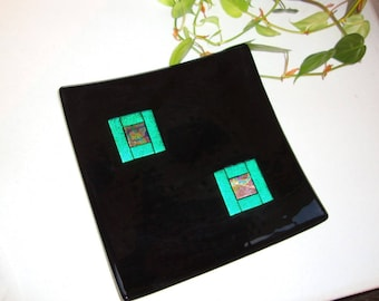 Fused Glass Dish - Black with Dichroic Elements