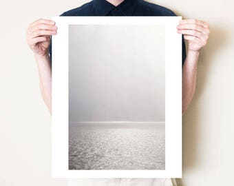 Scotland photography print, Isle of Mull minimal seascape photograph. Neutral monochrome coastal wall art. Minimal fine art ocean artwork