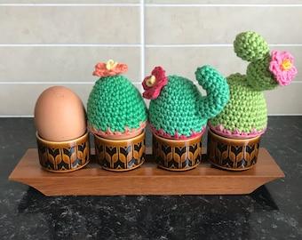 Three Flower Cactus Egg Cosies  - Crochet Cactus - Crochet Cactus Egg Cosy - Cozy - Crochet - Saguaro - Prickly Pear - Cacti - Easter