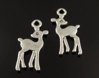 10 charms Fawn/deer double-sided silver metal
