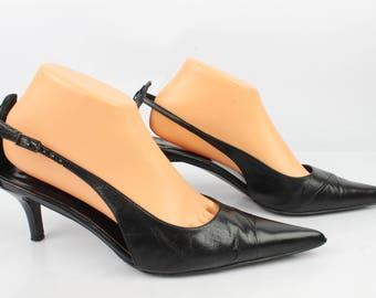 Vintage CHARLES BELTRAMI 6.5 Uk black leather pumps / Fr 40 very good condition 1614