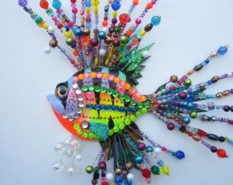 Original whimsical fish wall decor sculpture