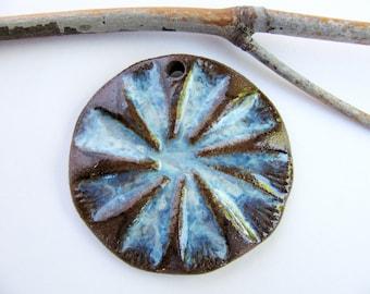 Blue Cloud Mandala Pendant Stoneware Clay