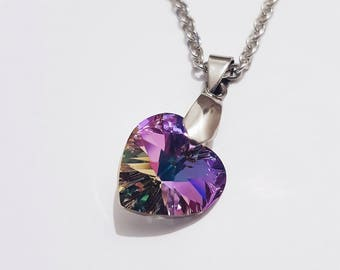 Swarovski Heart Necklace, Purple Heart, Swarovski Heart, Swarovski Crystal, Valentine's gift, Valentine's Day, Mother's Day, Gift