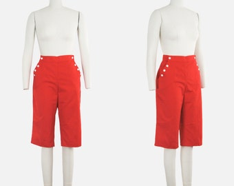 Vintage 1960s Cherry Red Capris - Pedal Pushers - Cropped Pants - Clam Diggers - High Waist  - Sailor Button - Medium - 28 30 in. Waist