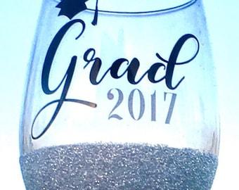 Graduation Wine Glass, 2017, Graduation Gift, Grad Gift