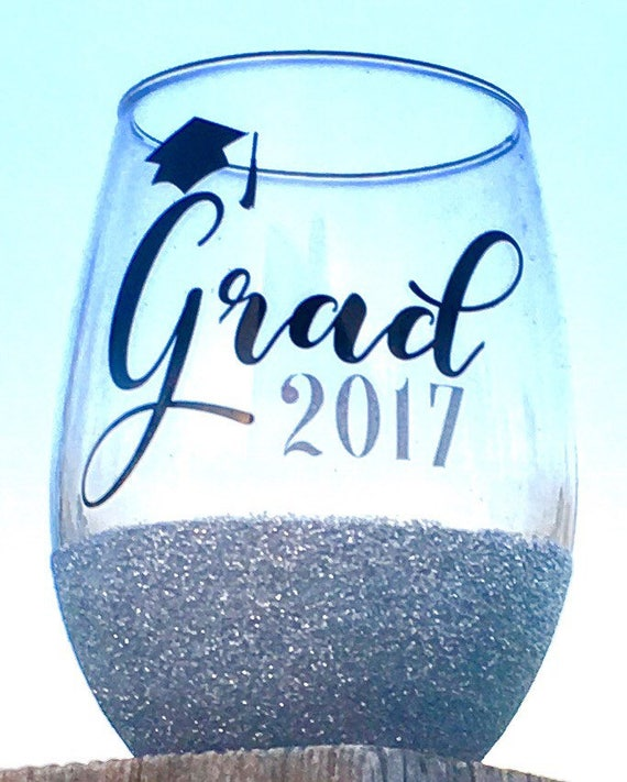 Graduation Wine Glass, 2017, Graduation Gift, Grad Gift
