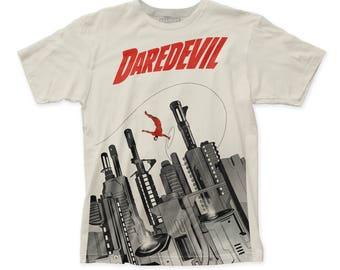 Daredevil Gun City Men's Soft Fitted 30/1 Cotton Subway Tee (SUBDARE03) Vintage White