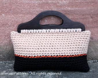 CROCHET PATTERN - Crochet purse Retro style in black and beige - Listing109